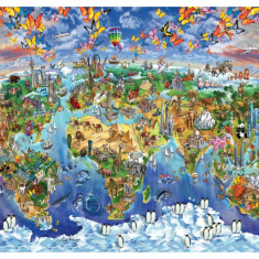 Puzzle Heidi - 2000 de piese - World Wonders Illustrated Map-MARIA RABINKY