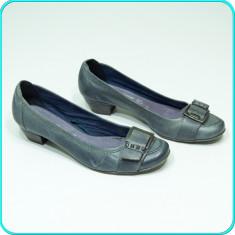Pantofi—mocasini dama, din piele, comozi, usori, MARCO TOZZI → femei | nr. 39 - Pantof dama Marco Tozzi, Culoare: Gri, Piele naturala, Cu talpa joasa