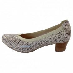 Pantofi dama, din piele naturala, marca Alpina, culoare bej, marimea 37 - Pantof dama