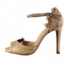 Sandale dama, din piele naturala, marca Epica, culoare bej, marimea 38