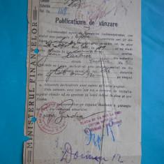 HOPCT DOCUMENT VECHI  258 MIN FINANTELOR-PUBLICATIUNE DE VANZARE BUCURESTI 1930