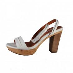 Sandale dama, din piele naturala, marca Geox, culoare alb, marimea 36.5