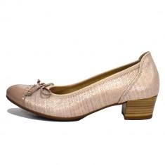 Pantofi dama, din piele naturala, marca Gabor, culoare roz-pal, marimea 37.5 - Pantof dama Gabor, Cu toc
