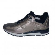 Pantofi sport dama, din piele naturala, marca Geox, culoare bronz, marimea 37