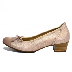 Pantofi dama, din piele naturala, marca Gabor, culoare roz-pal, marimea 37 - Pantof dama Gabor, Cu toc