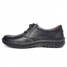 Pantofi barbati, din piele naturala, marca Krisbut, culoare negru, marimea 45, Casual