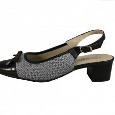 Pantofi dama, din piele naturala, marca Alpina, culoare bleumarin, marimea 38.5 - Pantof dama Alpina, Cu toc