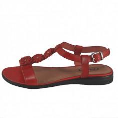 Sandale dama, din piele naturala, marca Johnny, culoare rosu, marimea 38