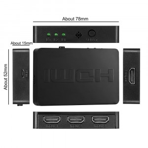 Switch 3 porturi HDMI: 3x HDMI input - 1x HDMI output cu telecomanda, Full HD