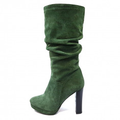 Cizme dama, din piele naturala, marca Botta, culoare verde, marimea 36 - Cizma dama