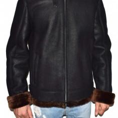 Cojoc barbati, din blana naturala, marca Kurban, culoare negru, marimea XXL - Geaca barbati Kurban, Piele