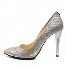 Pantofi dama, din piele naturala, marca Botta, culoare argintiu, marimea 39 - Pantof dama Botta, Cu toc