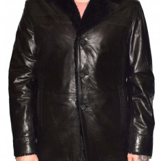Cojoc barbati, din blana naturala, marca Kurban, culoare negru, marimea 6XL - Geaca barbati Kurban, Piele