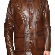 Haina barbati, din piele naturala, marca Kurban, culoare maro, marimea 4XL