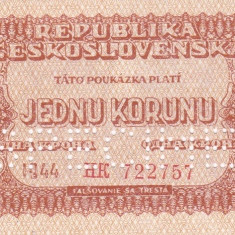 SPECIMEN CEHOSLOVACIA 1 korunu 1944 AUNC+!!! - bancnota europa