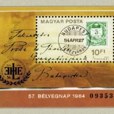 Ungaria 1984 - ziua marcii postale, colita neuzata - Cambie si Cec