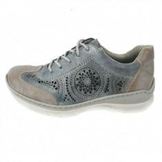 Pantofi sport dama, din piele naturala, marca Rieker, culoare gri, marimea 36 - Adidasi dama