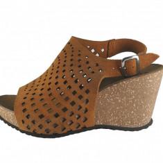 Sandale dama, din piele naturala, marca Johnny, culoare coniac, marimea 40