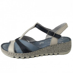 Sandale dama, din piele naturala, marca Walk, culoare bleumarin, marimea 39