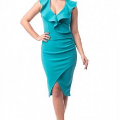 A539-442 Rochie eleganta de seara, turquoise, cu volanase - Rochie ocazie, Marime: L