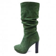 Cizme dama, din piele naturala, marca Botta, culoare verde, marimea 38 - Cizma dama