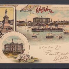 CONSTANTA STATUIA OVIDIU VEDERE GENERALA VAPORUL ELISABETA STURZA LITOGRAFIE - Carte Postala Dobrogea pana la 1904, Circulata, Printata