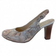 Pantofi dama, din piele naturala, marca Alpina, culoare bej, marimea 38.5 - Pantof dama Alpina, Cu toc