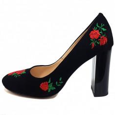 Pantofi dama, din piele naturala, marca Botta, culoare negru, marimea 38 - Pantof dama Botta, Cu toc