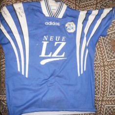 Tricou al Echipei FC Luzern -Elvetia, marca Adidas cu 3 semnaturi umar-mas - XL - Tricou echipa fotbal, Culoare: Albastru