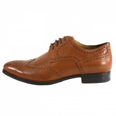 Pantofi eleganti barbati, din piele naturala, marca Geox, culoare coniac, marimea 41 - Pantofi barbat