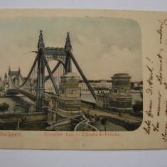 Carte postala BUDAPESTA - Podul Elisabeta - anii 1900, Ungaria, Circulata, Printata