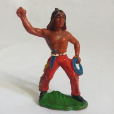 Figurina indian nativ american, cauciuc, pictat manual, 7 cm, marcat 1.05
