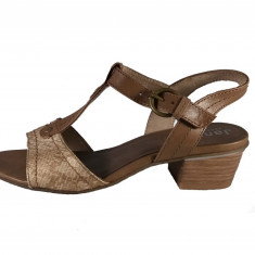 Sandale dama, din piele naturala, marca Jana, culoare bej, marimea 37