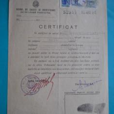 HOPCT DOCUMENT VECHI FISCALIZAT NR 238 CERTIFICAT CAZIER-IOLAND C -BARLAD TUTOVA, Romania 1900 - 1950, Documente