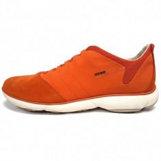 Pantofi sport barbati, din piele naturala, marca Geox, culoare portocaliu, marimea 44 - Pantofi barbat Geox, Orange