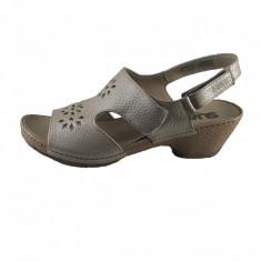Sandale dama, din piele naturala, marca Suave, culoare bej, marimea 38