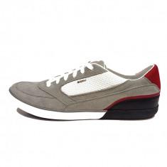 Pantofi sport barbati, din piele naturala, marca Geox, culoare gri, marimea 45 - Pantofi barbat