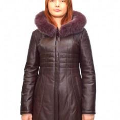 Haina dama dama piele, din piele naturala, marca Kurban, culoare bordo, marimea 7XL - Geaca dama Kurban, Bordeaux