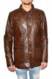 Haina barbati, din piele naturala, marca Kurban, culoare maro, marimea S