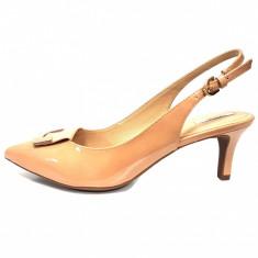 Pantofi dama, din piele naturala, marca Geox, culoare bej, marimea 38 - Pantof dama Geox, Cu toc