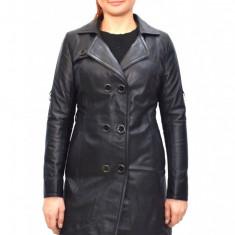 Haina dama dama piele, din piele naturala, marca Kurban, culoare negru, marimea 3XL