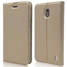 Husa Nokia 2 Dux Ducis tip carte - Husa Telefon, Auriu, Piele Ecologica