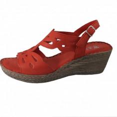 Sandale dama, din piele naturala, marca Walk, culoare rosu, marimea 40