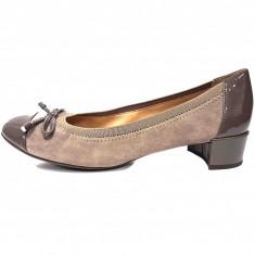 Pantofi dama, din piele naturala, marca Geox, culoare bej, marimea 37.5 - Pantof dama Geox, Cu toc