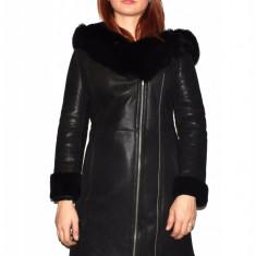 Cojoc dama, din blana naturala, marca Kurban, culoare negru, marimea M