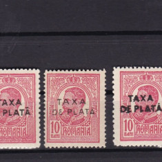 ROM 1918  CAROL I  LOT  TAXA DE PLATA   VALOAREA 10 BANI MNH