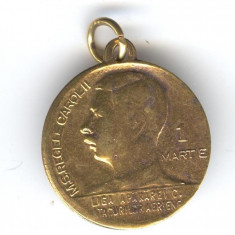 M.S. REGELE CAROL II - LIGA APARARII CONTRA ATACURILOR AERIENE Medalion 1930's - Decoratie