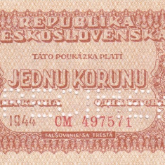 SPECIMEN CEHOSLOVACIA 1 korunu 1944 UNC!!! - bancnota europa