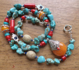 Colier inspiratie tibetana - turcoaz, coral, lapis, margele hand made nepal