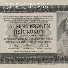 SPECIMEN BOHEMIA SI MORAVIA 1.000 korun 1942 AUNC+!!! - bancnota europa